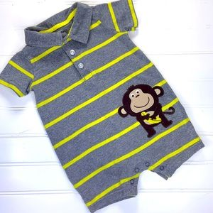 CARTERS SHORT SLEEVE GRAY/YELLOW STRIPED ROMPER 9M